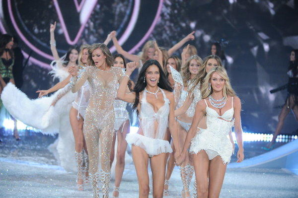 "Models walk down the runway during the ""Victoria's Secret Fashion Show."""