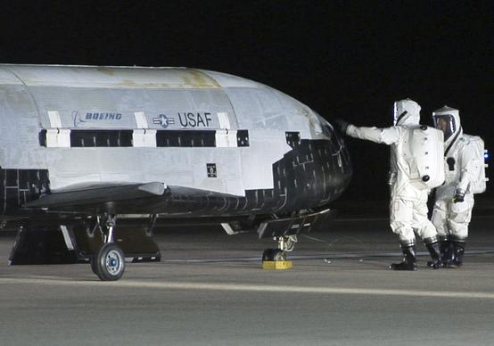 The first X-37B space plane lands in December at Vandenberg Air Force Base northwest of Santa Barbara after its 224-day mission.