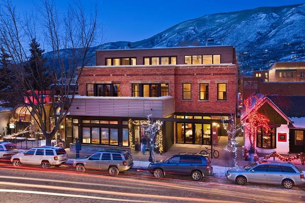 The exterior of Bootsy Bellows Aspen, which is located in the basement of this mixed-use building.