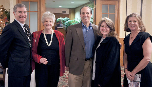 Reid Samuelson, Shelley Thompson, Ken and Lori Gorvetzian and Kay Linden at the YMCA party. Kay Linden was chair of the event.