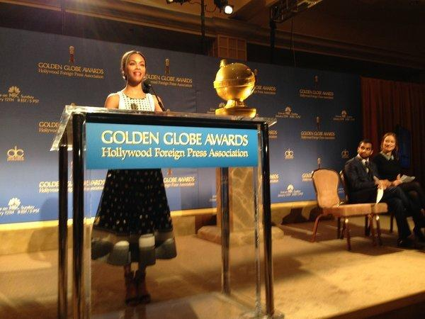 Zoe Saldana, Aziz Ansari and Olivia Wilde announce the Golde Globes nominees Thursday.