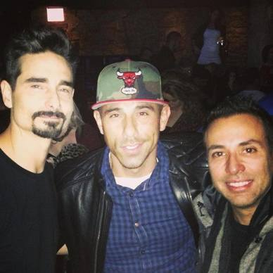 Backstreet Boys members Kevin Richards (left) and Howie Dorough (right) at The Underground Dec. 5, 2013 with co-owner Billy Dec (center).