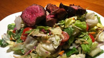 Steak salad at Outback tender and flavorful