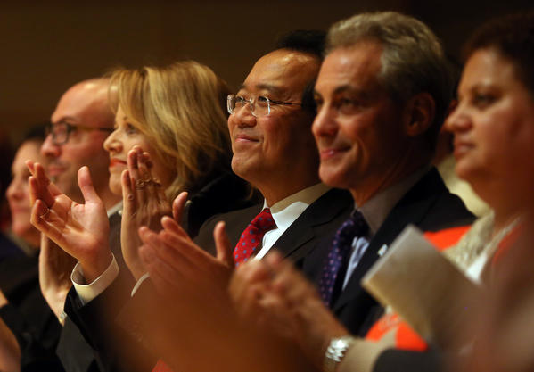 Renee Fleming, Yo-Yo Ma and Mayor Rahm Emanuel celebrate the CPS' arts plan one-year anniversary at the Symphony Center.