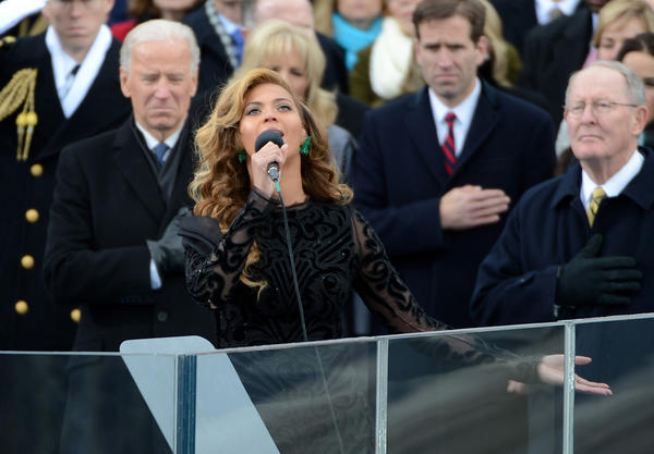 "Beyonce mouthed the words along to a prerecorded version of the National Anthem at President Obama's second inauguration on Jan. 21. She later belted out the ""Star-Spangled Banner"" at a Super Bowl XLVII press conference to prove the naysayers wrong."