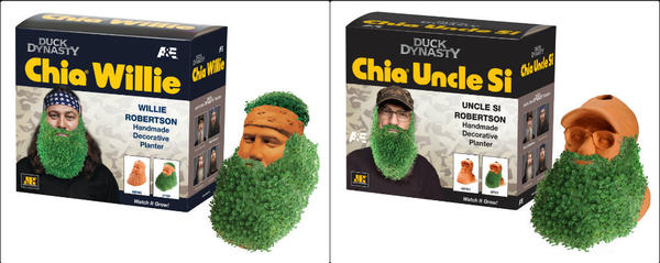 "Joseph Enterprises' Chia Willie, left, and Chia Uncle Si allow fans of A&E's hit ""Duck Dynasty"" to grow distinctive facial hair of their own -- kind of."