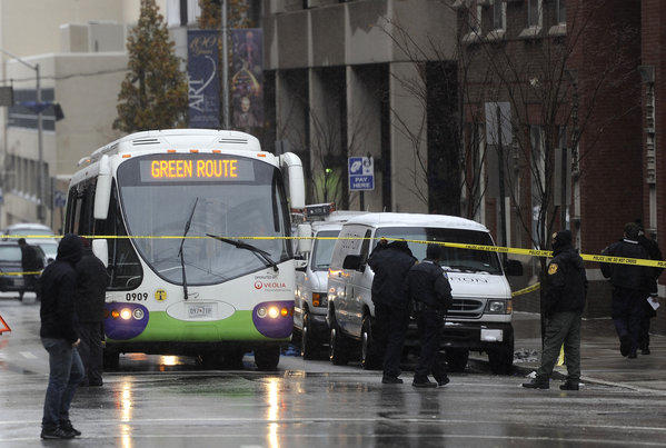 This is the scene of a fatality involving a Charm City Circulator bus in which a 50-year-old woman was killed.