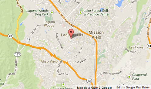 Map shows the location where a man was killed in Laguna Hills.