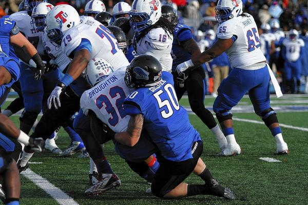 Eastern Illinois linebacker Adam Gristick (50), a Parkland high school graduate, is one of the Panthers' leading tacklers.