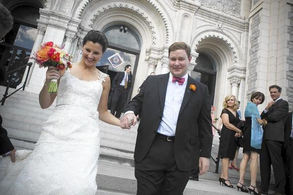 Wedding of Andrew Harrison and Diz Keller at Sacred Heart of Jesus and the Legg Mason Building in Baltimore.