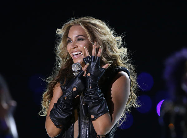 Beyonce performs during the halftime show of the Super Bowl in New Orleans.
