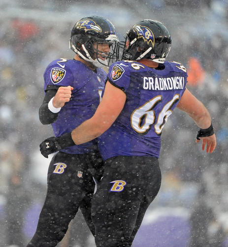 """Joe Flacco had several passes dropped, but up until the fourth quarter, he was ineffective. There are many times when you question his decisions and what exactly he is seeing on the field. He threw three interceptions, two of them poor choices, but he came through in crunch time again. Flacco plays better when he thinks less. <b>Grade: C+</b> <script defer src='http://www.readrboard.com/static/engage.js'></script> <style> .rdr_votes {   background:#1b3048;   color:#fff;   font-size:18px;   font-family:helvetica, arial, sans-serif;   padding:10px 20px;   margin:20px 20px 20px 0;   display:inline-block; } </style>   <div> <div rdr-cta-for=""""fan_grades"""" rdr-mode=""""read"""" rdr-offset-x=""""0"""" rdr-offset-y=""""41"""" class=""""rdr_votes"""">View Fan Grades (<span rdr-counter-for=""""fan_grades""""></span>)</div> <div rdr-cta-for=""""fan_grades"""" rdr-mode=""""write"""" rdr-offset-x=""""0"""" rdr-offset-y=""""41"""" class=""""rdr_votes"""">What's your grade?</div> </div>   <script src='http://www.readrboard.com/static/engage_full.js'></script> <script type=""""text/javascript""""> jQuery('#photo-next-left, #photo-next-right').one('click', function() {   setTimeout(function(){     window.READRBOARDCOM.actions.reInit();   },2000); }); window.readrboard_extend = {     blessed_tags: [         """"A"""",         """"B"""",         """"C"""",         """"D"""",         """"F""""     ] }; </script>"""