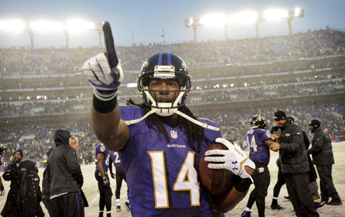 Ravens wide receiver Marlon Brown celebrates after his game-winning touchdown was confirmed by officials in the final seconds of the fourth quarter against the Vikings.