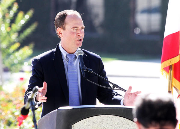 Rep. Adam Schiff (D-Burbank) speaks at a Veterans Day Ceremony at the McCambridge Park War Memorial in Burbank on Monday, Nov. 11, 2013.
