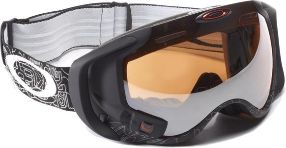 """Oakley's new ski goggle upgrades previous versions with a built-in """"heads up"""" display. Beyond tracking speed and altitude, the display integrates GPS and bluetooth and loads maps, music and tracks friends on the slope."""