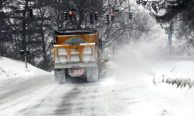 The town is preparing for a storm that is expected to drop five to 10 inches on the state Thursday into Friday. Schools closed early Thursday, and a parking ban was to go into effect at 6 p.m.  In this photo, a plow is seen in town in February 2011.