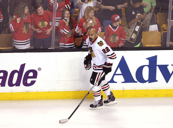 Former Chicago Blackhawks center Jamal Mayers during the 2013 Stanley Cup Final.