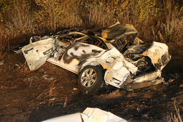 A Lexus ES 350 that crashed in August 2009 outside San Diego. Toyota later paid $10 million to settle a lawsuit filed by the families of the four people killed in the crash.