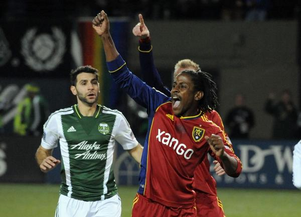 Lovel Palmer of Real Salt Lake during a game against the Portland Timbers.