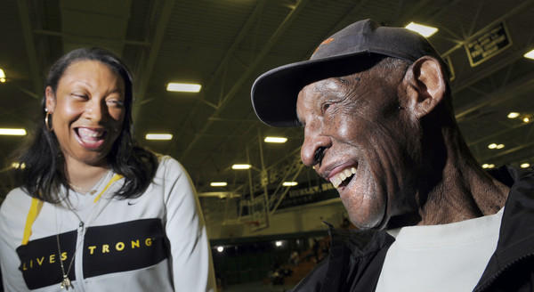 Hartford sports icon Doc Hurley is shown at the 35th annual Doc Hurley Classic basketball tournament with his daughter, Muriel Hurley, the executive director of the Doc Hurley Scholarship Foundation.
