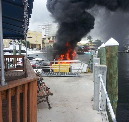 A woman suffered serious burns in a boat explosion and fire in Fort Lauderdale