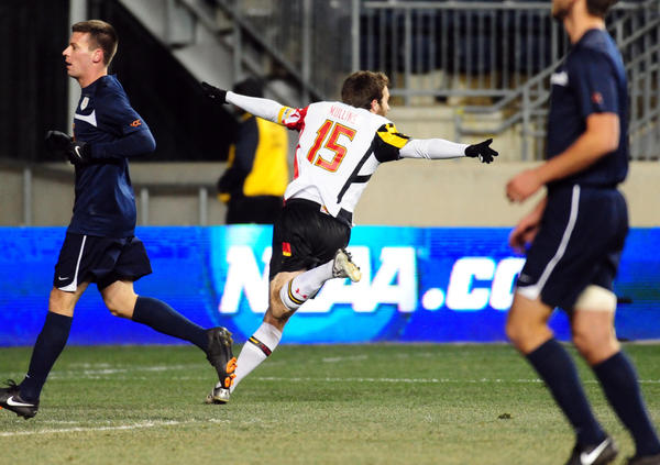 Maryland forward Patrick Mullins (15) reacts after scoring a goal in the first half against Virginia at PPL Park. He scored in the second half, too, and the Cavaliers couldn't recover.