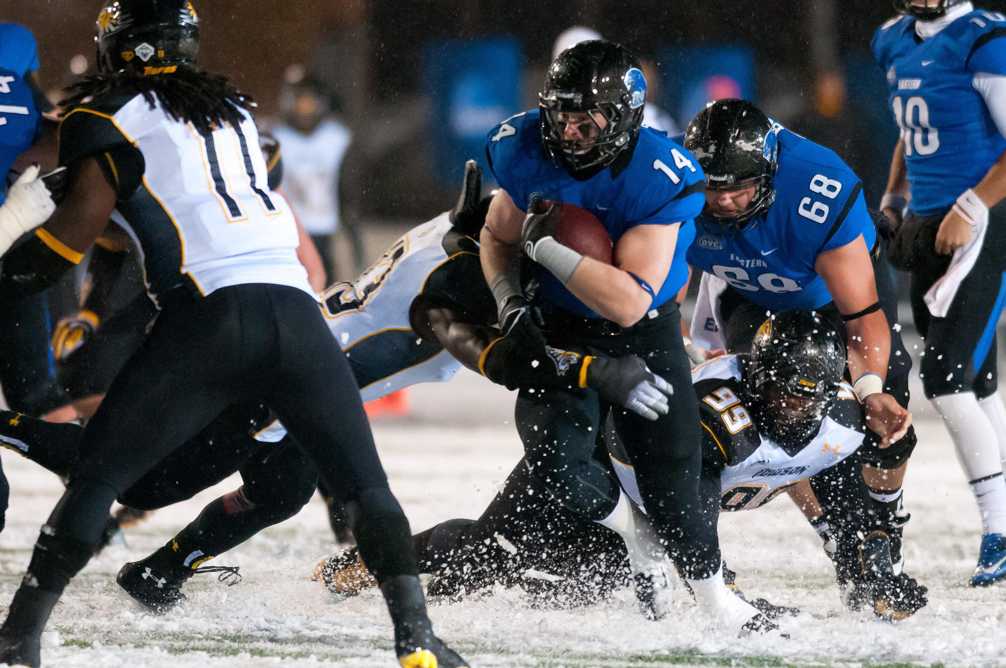 Eastern Illinois running back Taylor Duncan with the ball during the first quarter against Towson at O'Brien Field.
