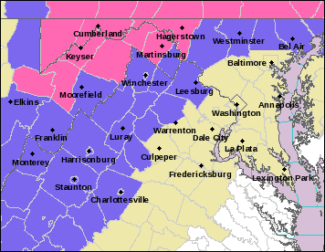 Winter weather advisories were in effect for Carroll, northern Baltimore and Harford counties Saturday, with winter storm warnings in western Maryland.