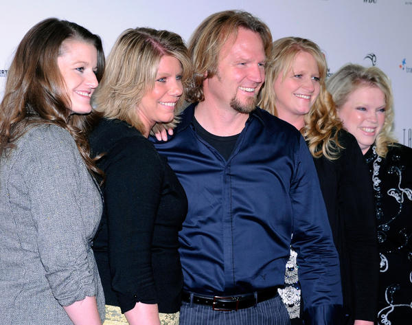 "(L-R) Robyn Brown, Meri Brown, Kody Brown, Christine Brown and Janelle Brown from TLC's ""Sister Wives."""