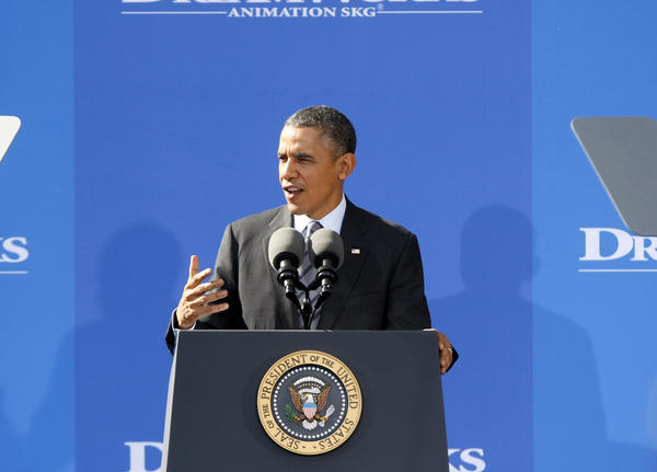 President Barack Obama spoke for about half hour to a large crowd at DreamWorks in Glendale on Tuesday, Nov. 26, 2013.