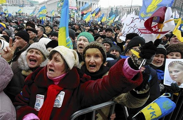Pro-European integration protesters gather for a mass rally at Independence Square in Kiev.