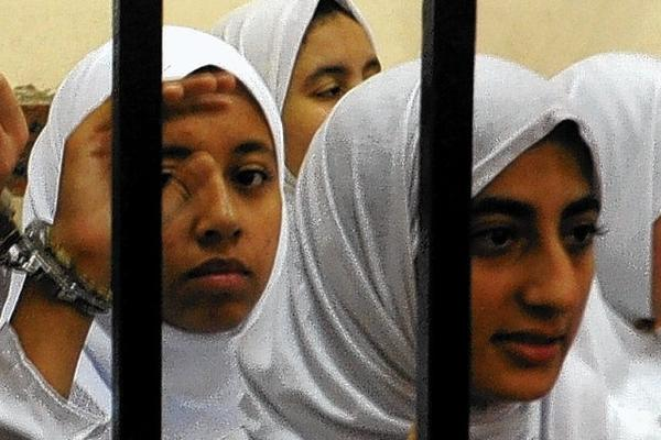 Young female Islamists in Alexandria, Egypt, have been sentenced to juvenile detention or prison for protesting against the government.