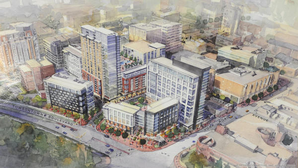 A rendering of the new development Towson Row. A parcel of county land could be added to the development.