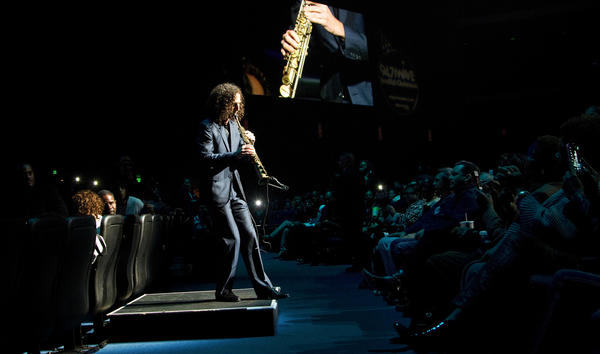 Kenny G performs at the Wave's Christmas concert at the Nokia Theatre on Friday