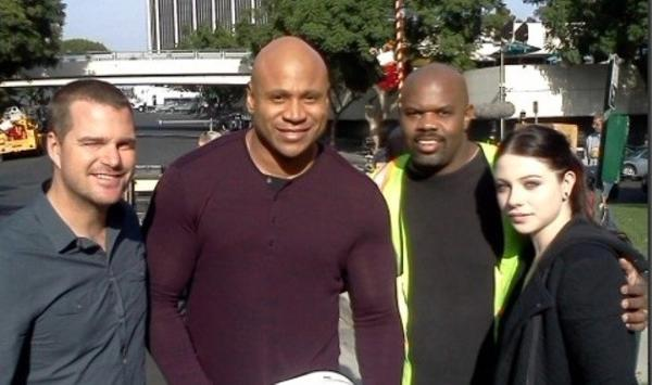 "Antonio Charity, second from right, on the set of ""NCIS: Los Angeles"" with Chris O'Donnell, LL Cool J and Michelle Trachtenberg."