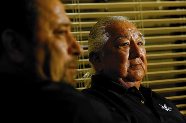 Vincent Armenta, left, is tribal chairman of the Santa Ynez Band of Chumash Indians, and Richard Gomez is vice chairman. Critics of their development plan say that if the tribe wins the day, it could pave the way for land grabs by many of the state's 100-plus Native American bands.