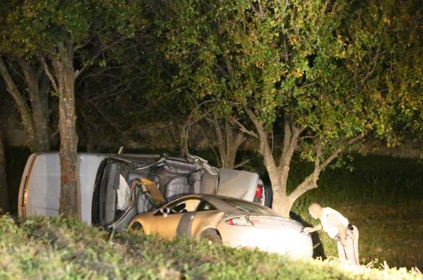 A crash late Sunday night, Dec. 15, 2013 sent two cars off the northbound lanes of Interstate 95 at the Sample Road exit and into a ditch area surrounded by trees.