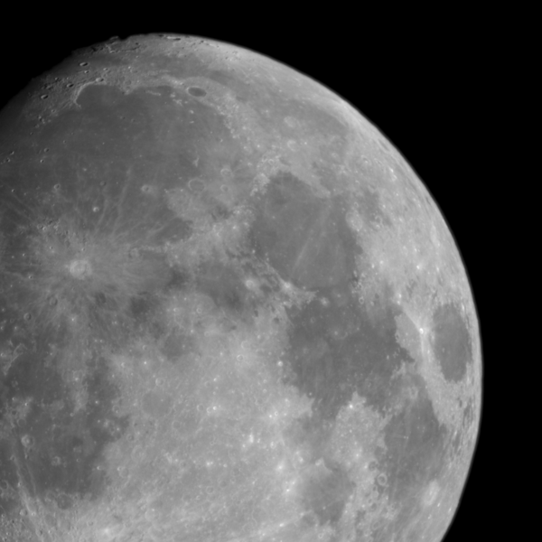 The moon as seen three days before the full moon in December 2008.