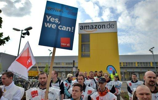 Amazon workers on strike in Leipzig in May. German employees of the e-commerce giant are striking again Monday for better wages.