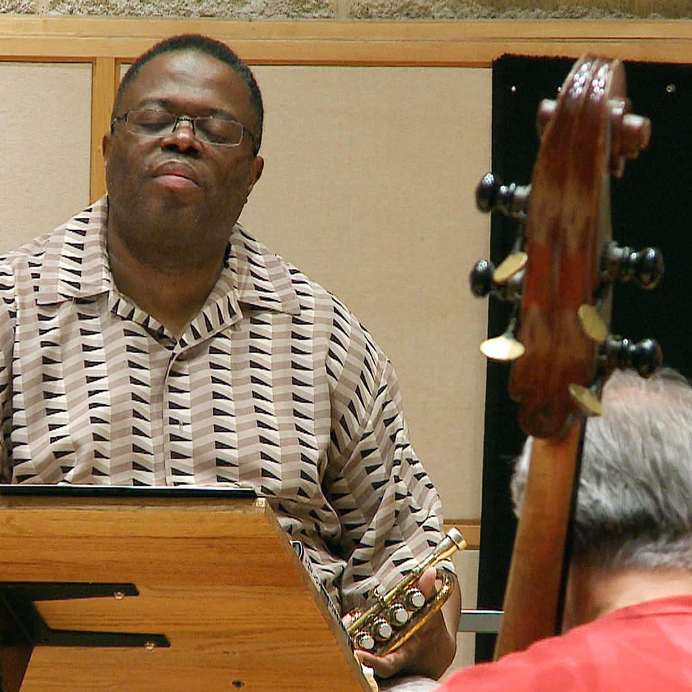Orbert Davis reflects during rehearsal with the Chicago Jazz Philharmonic in May.