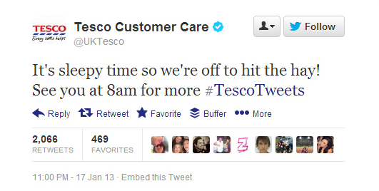 """UK supermarket chain Tesco started the year off with this gem. Note to the folks setting up automated tweets on this account: Maybe """"hit the hay"""" is not the right phrase to use right in the middle of a horsemeat scandal. In fact, the company's account was talking about that very subject when this ill-timed tweet posted."""