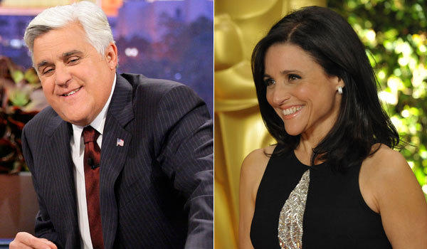 Jay Leno, left, and Julia Louis-Dreyfus will be inducted into the Television Academy Hall of Fame.