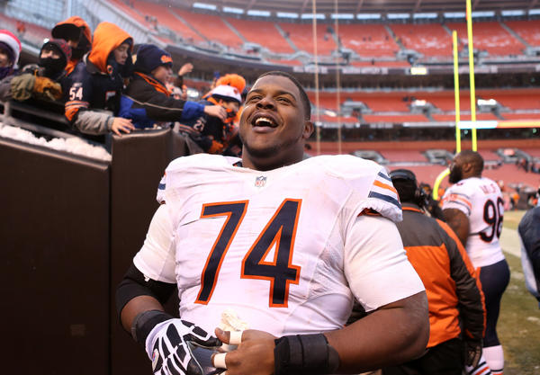 Chicago Bears tackle Jermon Bushrod after Sunday's game in Cleveland.