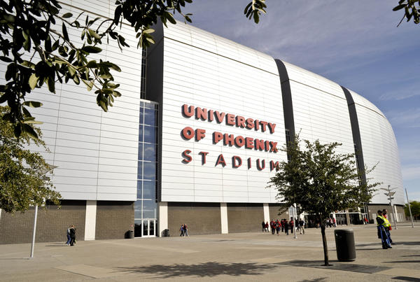 A general view of the exterior of University of Phoenix Stadium.