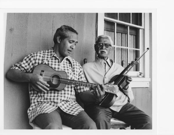 A film about Hawaiian songwriter Sam Lia, right, produced by documentary maker and ukulele legend Eddie Kamae, left, will be screened in early January at the Waimea Ocean Film Festival.