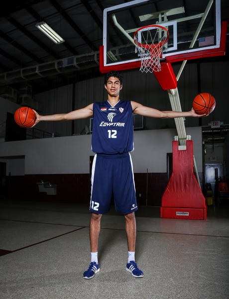 "Anas Osama, a 7'1"" West Oaks Academy basketball from Egypt poses for a photo in Orlando, FLA. on Tuesday November 26, 2013."