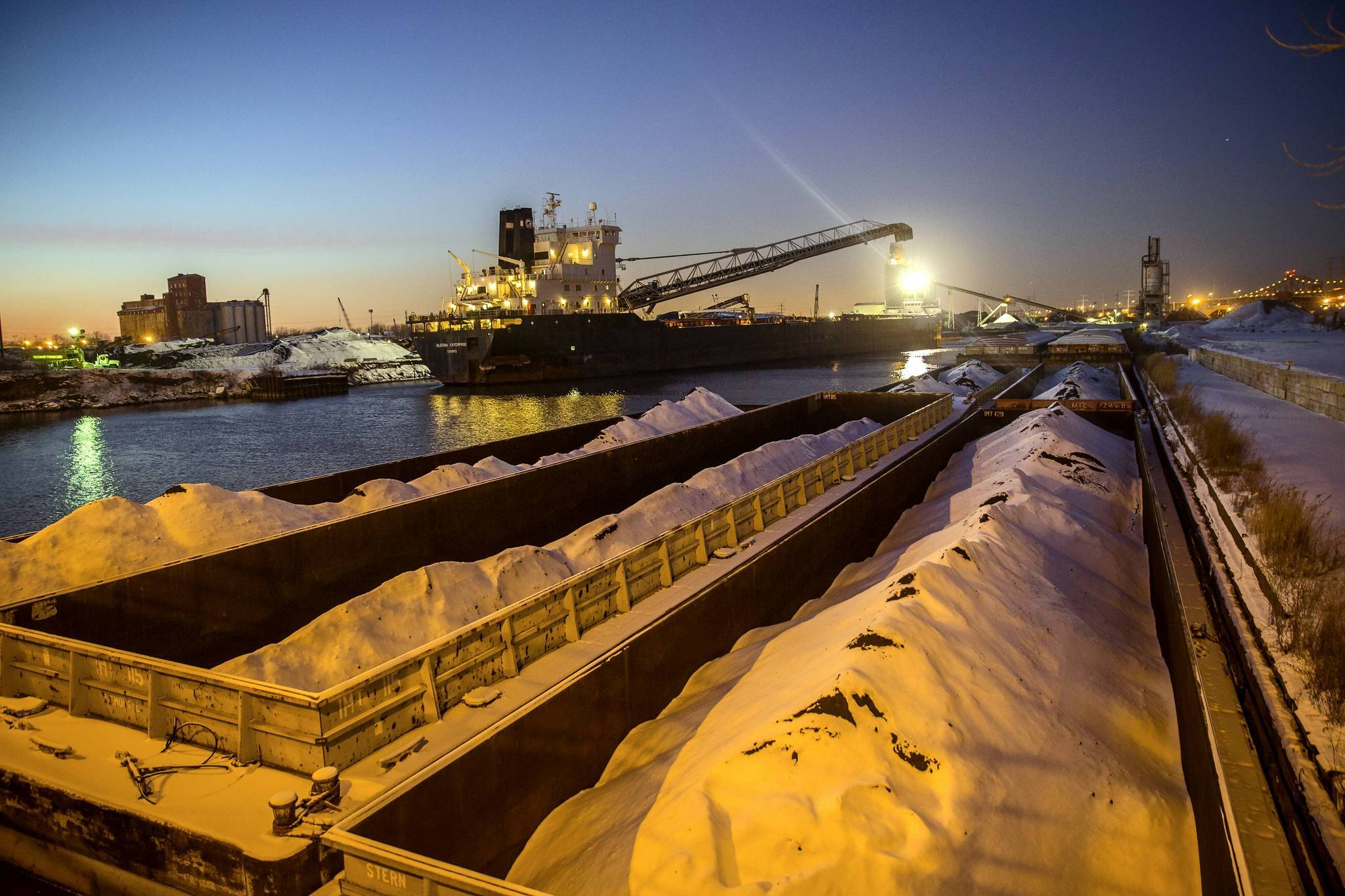 A cargo ship arrived at the docks of Beemsterboer Slag Company to load petcoke. Beemsterboer Slag Company has been storing dusty petcoke on the banks of the Calumet River at 106 Street.