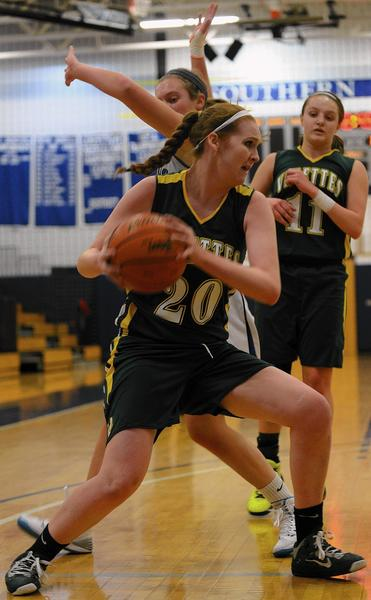 Central Catholic's Emma Redding (20) scored 21 points in the Vikettes' victory over Southern Lehigh.