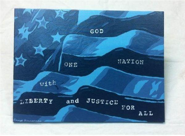 This hand-painted artwork from George Zimmerman is going for nearly $100,000 on eBay.