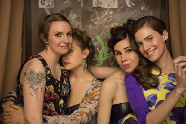 "Lena Dunham, Jemima Kirke, Zosia Mamet, Allison Williams of ""Girls."""